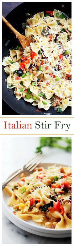 Italian Stir Fry – An incredibly delicious dinner with fresh vegetables and garbanzo beans tossed with bow tie pasta, fresh herbs, and cheese. Quick, healthy and easy!