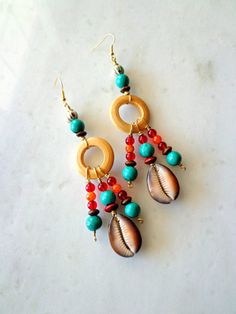 Cowrie Shell Bohemian Chandelier Earrings by KheperaAdornments
