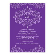 25th Anniversary Damask Invitation Purple White