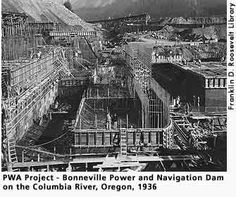 (#7) PWA project, Bonneville power and navigation Dam on the Columbia River in Oregon in 1936.