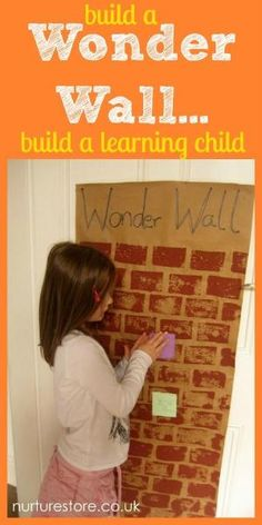 Wonder wall - you know when you're in the middle of something and you kid asks a question that you just don't know the answer to?  Add it to your wonder wall so you can come back to it at a more appropriate time!---and that's how we can get off in a tangent, I'm thinking poster board size, great idea to encourage wonderings without interrupting the current lesson. by christy