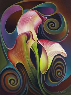 Calla Lilies oil painting. Colour. For similar pins please follow me at - https://www.pinterest.com/annelouise1959/colour-outside-the-lines/