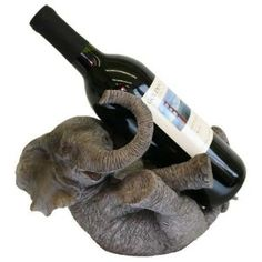 Big Happy Elephant Hand-Finished Wine Bottle Holder with Bonus Stopper
