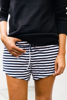 Striped shorts + Sweater.