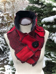 Wool Collar Scarf, Patchwork of Upcycled Sweaters, Red, Black, #SCF208