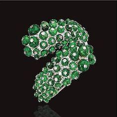 Emerald bead and diamond bangle-bracelet, Paul Flato, circa 1940