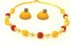 Exclusive yellow and red coloured silk thread necklace and earring with rhinestone roundell. £ 15 + postage. Party wear / Wedding Wear ethnic asian Jewelry
