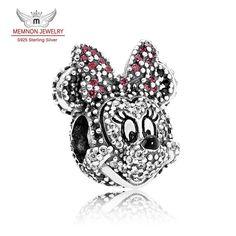 925 Sterling silver jewelry Minnie Portrait charms sterling-silver-jewelry beads fit bracelet necklace DIY fine jewelry MN820