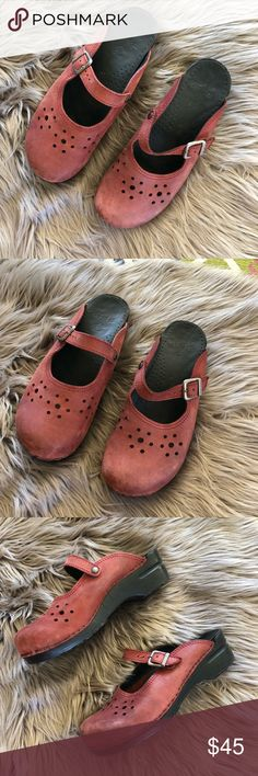 Danilo red Mary Jane Mule Clogs size 41 I love these clogs so much but really need a half size bigger. These are a size 41 (in Dansko this is a size 9.5-10) and so adorable! Great used condition with some wear visible throughout in the way of some minor scuffs. Soles are in excellent condition. Willing to trade for identical pair in 42.   I accept all reasonable offers! Dansko Shoes Mules & Clogs