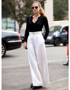 Street Style: Wide leg pants make enough of a statement to keep everything else basic.