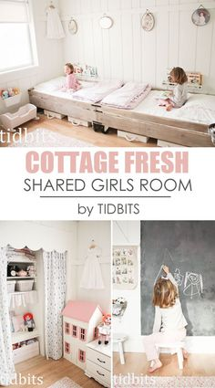 Shared Girls Room, Cottage Style by TIDBITS-Love how they did the walls, the beds and the closet is so adorable!
