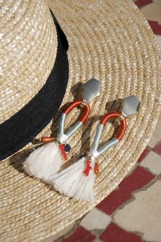 Mango, tassel earrings, Quasten Ohrringe, straw hat, Strohhut, DIY, Etsy