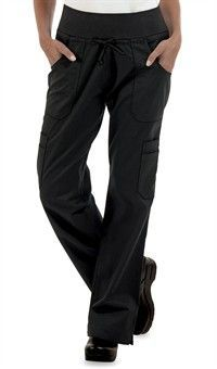 Women's Low Rise STRETCH Yoga Chef Pant - Black