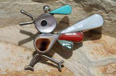 Vintage Zuni Sterling Silver  Turquoise Roadrunner Pin Brooch Pendant