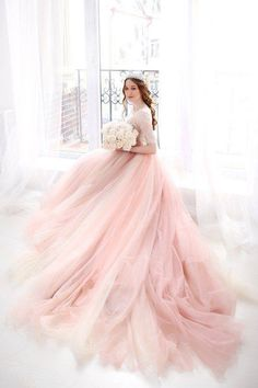 34 Ideas For Bridal Dresses Pink Style Pink Wedding Dresses, Bridal Dresses, Wedding Gowns, Prom Dresses, Rosa Style, Elegant Ball Gowns, Ball Gown Dresses, Pink Ball Gowns, Glamour
