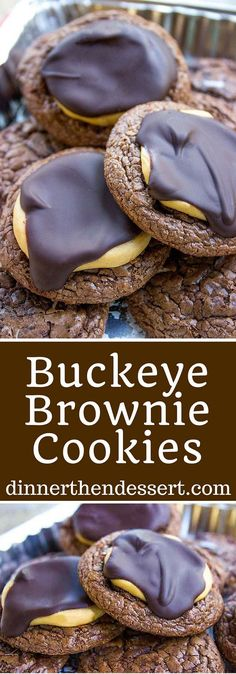 Crispy, chewy, rich Buckeye Brownie Cookies topped with a sweetened peanut butter topping and semisweet chocolate is the perfect chocolate peanut butter combo!