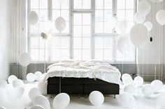 to wake-up to a balloon filled bedroom birthday surprise like this + cake.