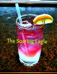 The BC Club created this drink for BC's 150th anniversary!    SOARING EAGLE    by bartender Steve Shur    Tall glass filled with ice  Add 1 ½ oz of Sky Citrus Vodka (get it? Sky + soaring)  Add a splash of ginger ale  Fiill the glass just over halfway with lemonade  Slowly fill the rest with pomegranate juice  Garnish with a lemon wedge, add a straw, and a sip and a smile.