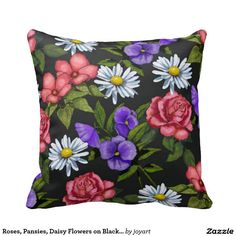 Roses, Pansies, Daisy Flowers on Black, Artwork