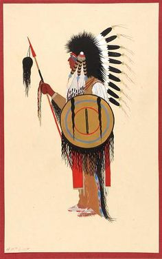 Cheyenne Warrior in Feather Headdress with Shield.jpg