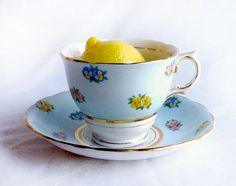 Vintage Colclough Tea Cup & Saucer English Bone China Baby Blue and Pansies