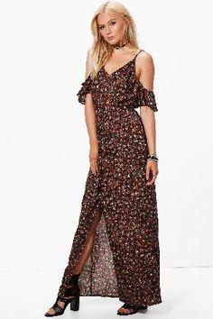 #boohoo Cold Shoulder Frill Sleeve Maxi Dress - multi #Anna Cold Shoulder Frill Sleeve Maxi Dress - multi