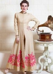 Party Wear Jute Silk Beige Embroidered Work Straight Suit