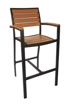 The BFM Largo arm barstool is made with synthetic teak planks, attached to a modern style aluminum frame with a textured Black powder coat finish.