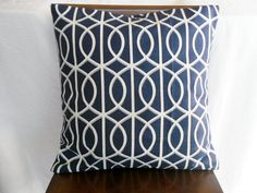 Navy Blue and White Circle Lattice Graphic Pillow | $16.95