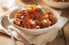 Add a touch of Greek cuisine to your pasta with this moussaka-style dish with chunky vegetables & lamb. Find many more pasta recipes at Tesco Real Food. Yummy Pasta Recipes, Side Recipes, Greek Recipes, Veggie Recipes, Gourmet Recipes, Italian Recipes, Cooking Recipes, Batch Cooking, Meal Recipes