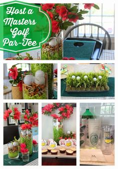 How to throw a golf Masters party. Golf balls, tees, centerpiece