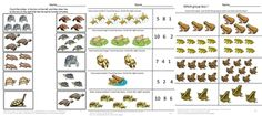 MATH - Strong counting skills will help students progress to a strong math foundation when they start school. This in turn benefits them as they advance through the grades. Frogs, Toads, Turtles Math Worksheets, consists of 27 pages and provides various worksheets to help students develop these skills.