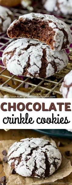Richly fudgy chocolate crinkle cookies, studded with mini chocolate chips (for extra chocolate flavor), and rolled in powdered sugar! These are a classic holiday (or anytime) favorite! #Cookies #HolidayCookie #Holidays #Chocolate