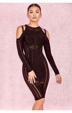 2ec527e9c6744 Madrina Black Bandage Cold Shoulder Dress House Of Cb, Bodycon Dress,  Bandage Dresses,