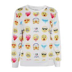 #Cute Printed #Emoji #Sweatshirt TrendsGal.com