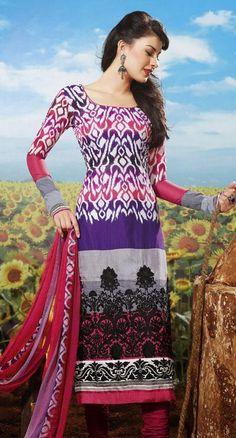 $73.98 Multi Color Cotton Thread Work Pakistani  Salwar Kameez 24334