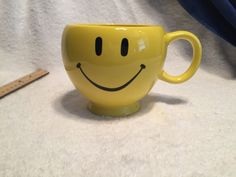 Vintage Teleflora Yellow Smiley Face Coffee Tea Soup Mug Soup Mugs, Tea Mugs, Yellow Smiley Face, Face Mug, Vintage Yellow, Coffee, Kaffee, Tea Cups, Cup Of Coffee