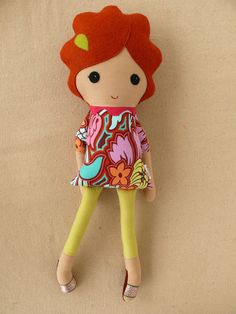Fabric Doll Rag Doll Girl in Pink Floral Dress by rovingovine,