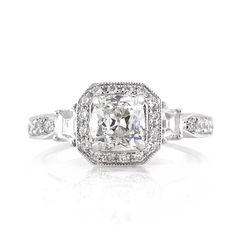1.85ct Antqiue Cushion Brilliant Diamond Engagement Ring 3578-1