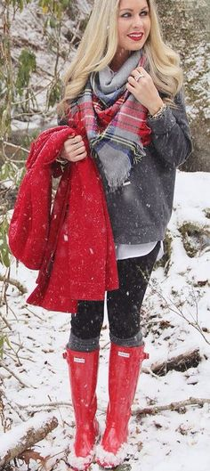 I love these red Hunter Boots with the plaid scarf and red jacket for winter