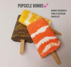 Popsicle Bath Bombs. Orange Creamsicle Chocolate Vanilla Summer Party Favors, Bath Bomb Recipes, Orange Creamsicle, Popsicles, Bath Bombs, Birthday Gifts, Vanilla, Essential Oils, Ice Cream