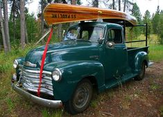 51 Chevy Truck with 'wooden' canoe.my dream truck and love the color! Chevrolet 3100, Chevrolet Trucks, Gmc Trucks, Cool Trucks, Cool Cars, Jeep Truck, Antique Trucks, Vintage Trucks, Vintage Auto