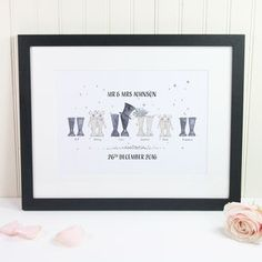 Personalised Wedding Welly Boot Family Print by This Is Nessie, the perfect gift for Explore more unique gifts in our curated marketplace. 1st Wedding Anniversary Gift, Paper Anniversary, Wellies Boots, Cow Painting, Family Print, Personalized Wedding Gifts, Our Wedding Day, Paper Gifts, Unique Gifts