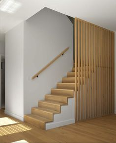 Wooden Staircase Railing, Stair Railing Design, Banisters, Stair Paneling, Stair Walls, Basement Stair, Timber Battens, Timber Screens, Stair Renovation
