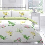 Dunelm Floral Comfortable Mimosa Duvet Cover and Pillowcase Set King Size Duvet, Green Backgrounds, Garden Beds, Linen Bedding, Botanical Gardens, Duvet Covers, Comforters, Pillow Cases, Floral Design