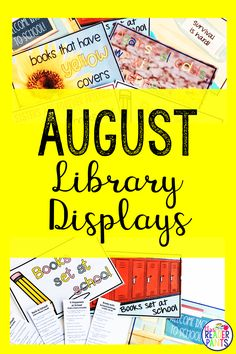 Get your library ready for back to school with these gorgeous back to school display signs! I've created display posters in nine August themes and genres, and each theme includes read-alike bookmarks. Great for all grade levels. The New School, New School Year, Library Lessons, Library Ideas, Back To School Displays, August Themes, Reading Incentives, Reluctant Readers, Reading Logs