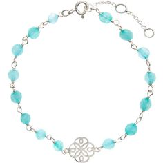 Accessorize Sterling Silver Aqua Charm Bracelet ($39) ❤ liked on Polyvore featuring jewelry, bracelets, beading charms, beaded jewelry, sterling silver bead charms, aqua jewelry and bead charms