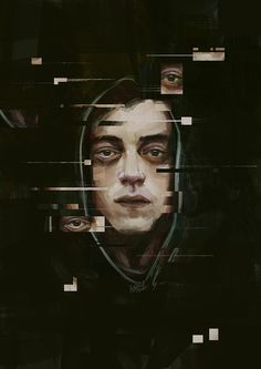 """rellygc: """" """"Give a man a gun, he'll rob a bank. Give a man a bank, he'll rob the world."""" Mr. Robot (Elliot) - Illustration by Relly Coquia """" Kudos to Rami Malek and Mr. Robot!!"""