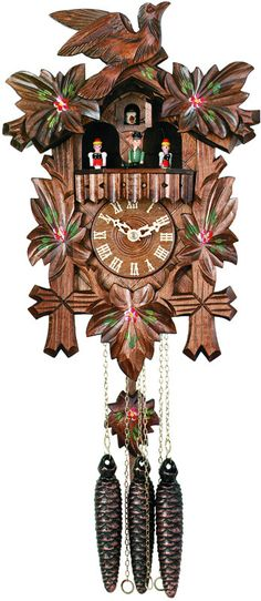 One Day Musical Cuckoo Clock with Dancers, Five Hand-carved Maple Leaves, One Bird, and Hand-Painted Flowers - 14 Inches Tall