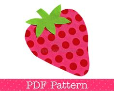 Strawberry Applique Template, Fruit, Food, DIY, Children, PDF Pattern by Angel Lea Designs, Instant Download Digital Pattern